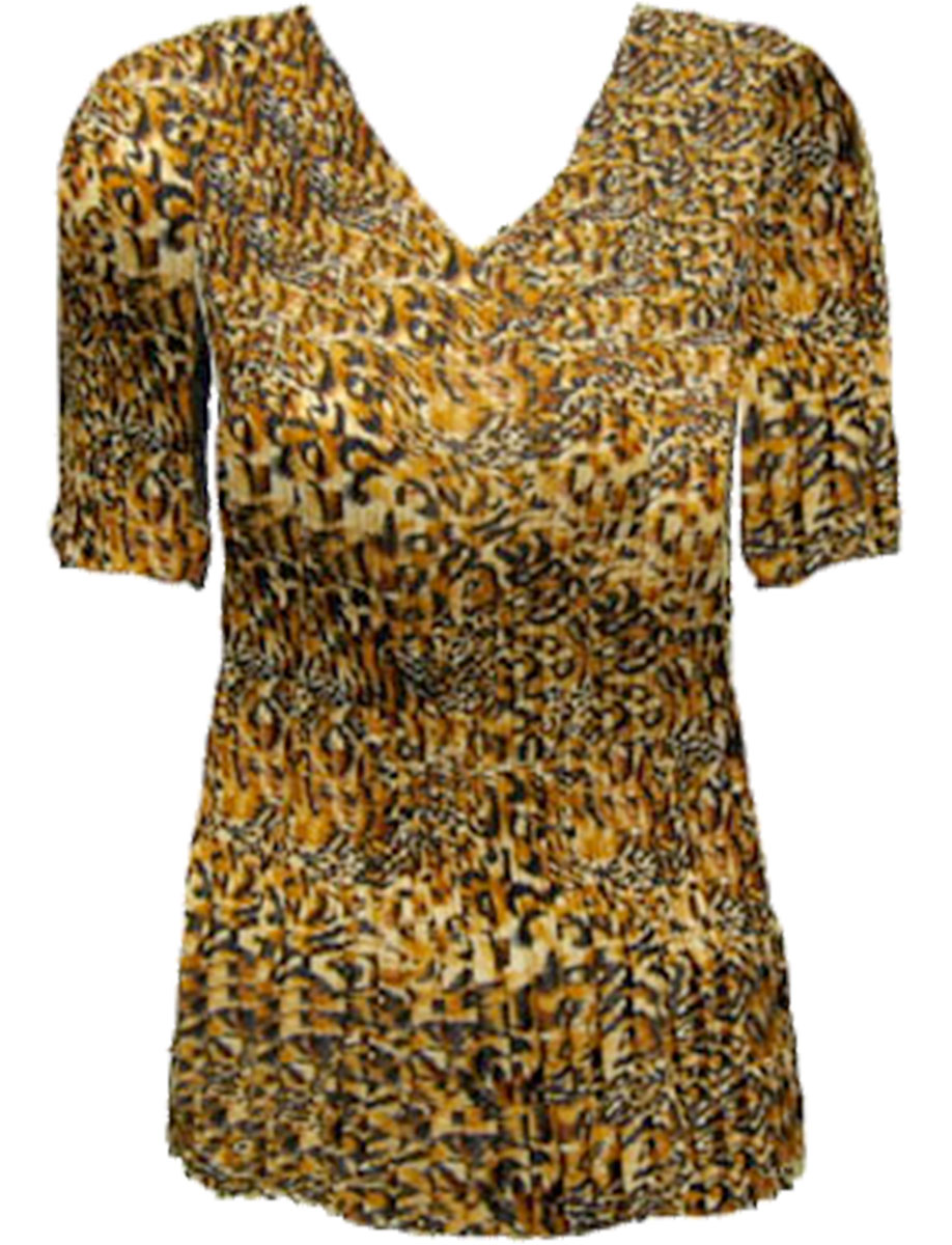 Wholesale Skirts - Georgette Mini Pleat Ankle Length*  Leopard Print - One Size (S-XL)