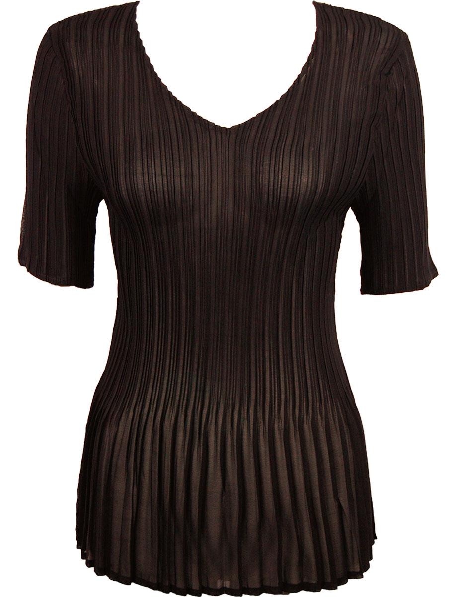 Georgette Mini Pleats - Half Sleeve V-Neck
