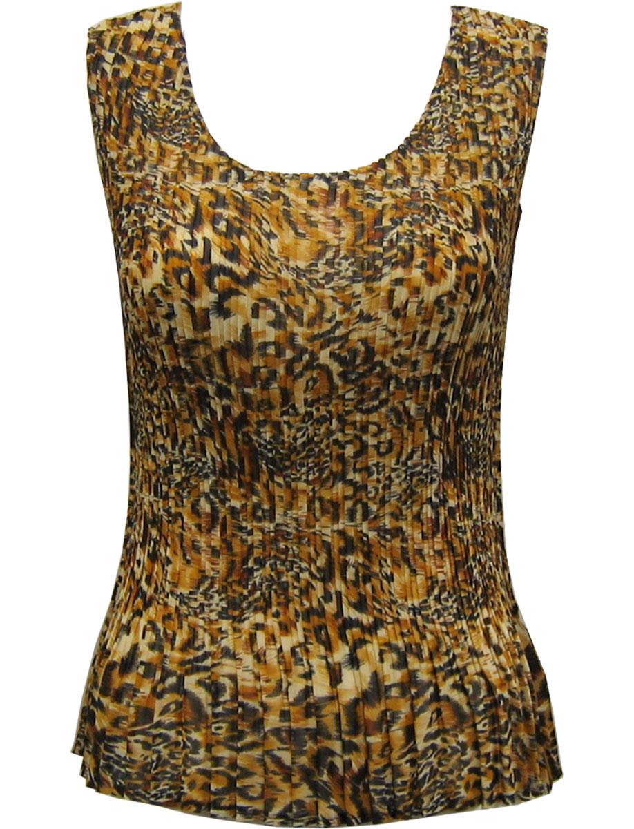 Wholesale Skirts - Georgette Mini Pleat Ankle Length*  Leopard Print - One Size (S-L)
