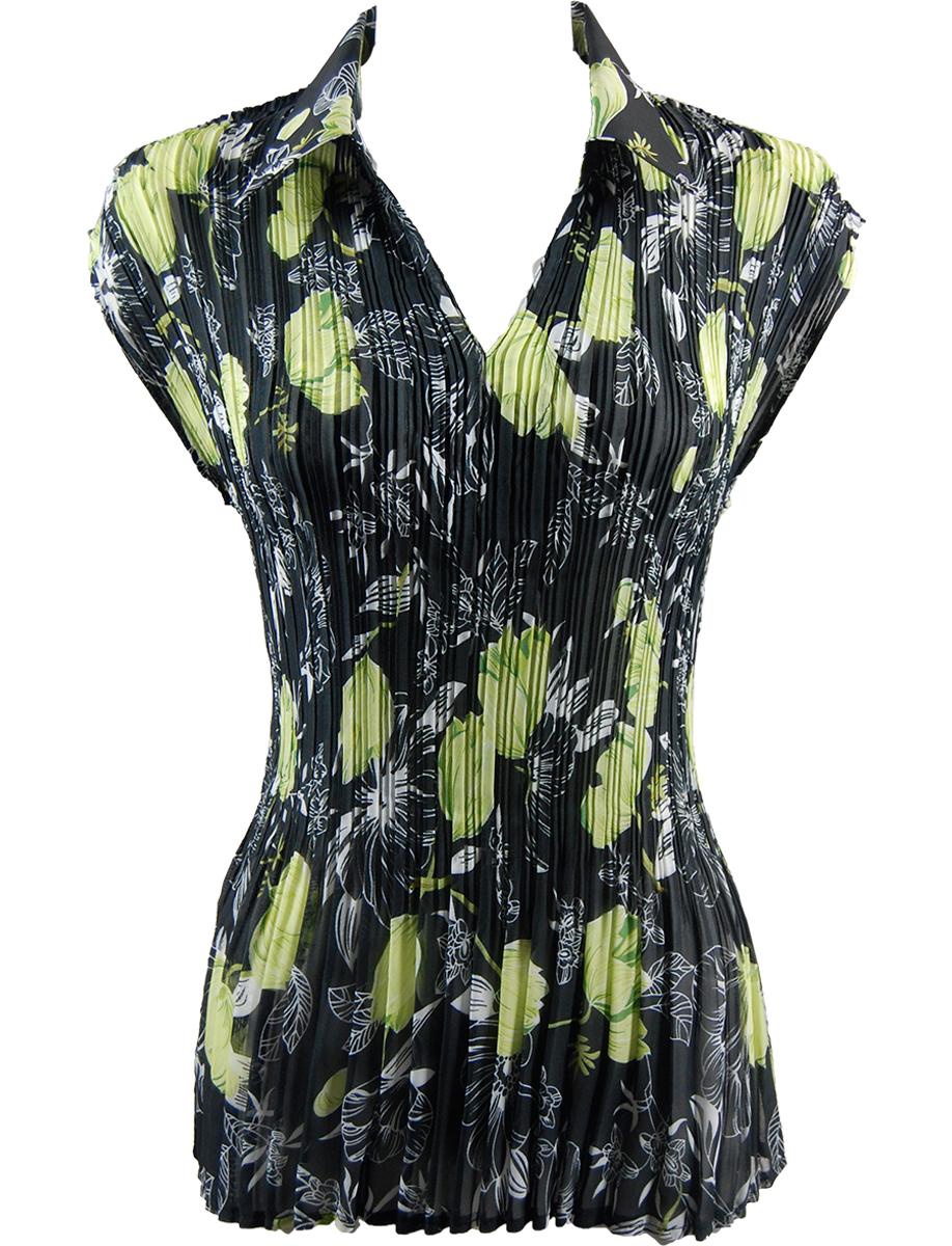Georgette Mini Pleats - Cap Sleeve with Collar - Black-Kiwi Floral