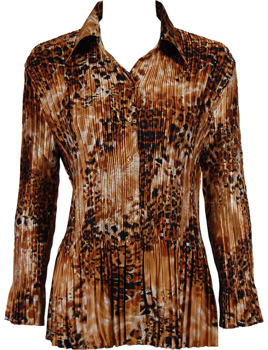 Satin Mini Pleats - Blouse - Golden Leopard Satin Mini Pleat - Blouse