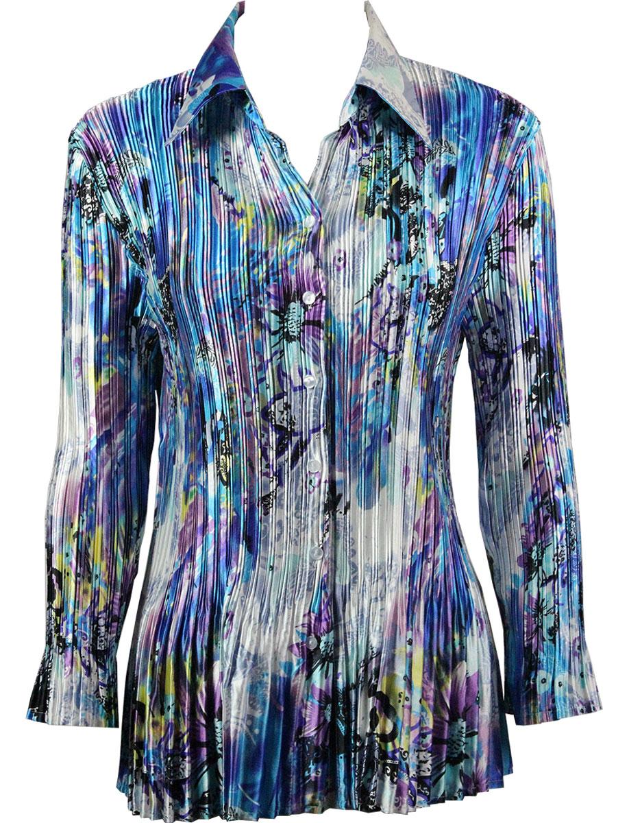 Satin Mini Pleats - Blouse - Paint Splatter Aqua-Purple Satin Mini Pleat - Blouse