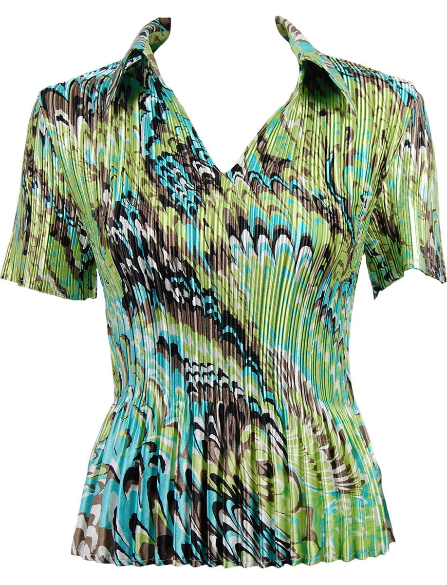 Wholesale Skirts - Satin Mini Pleat Tiered* Lime-Aqua Peacock - One Size (S-XL)