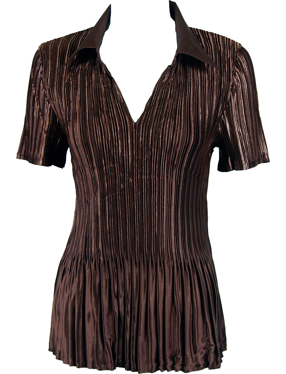 Wholesale Satin Mini Pleats - Cap Sleeve Solid Brown - One Size (S-XL)