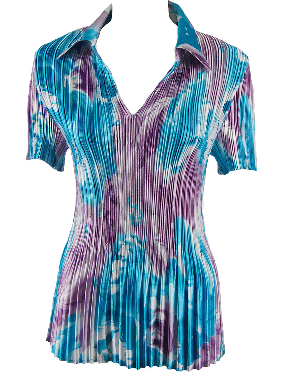 Satin Mini Pleats - Half Sleeve with Collar - Turquoise-Purple Watercolors Satin Mini Pleat - Half Sleeve with Collar