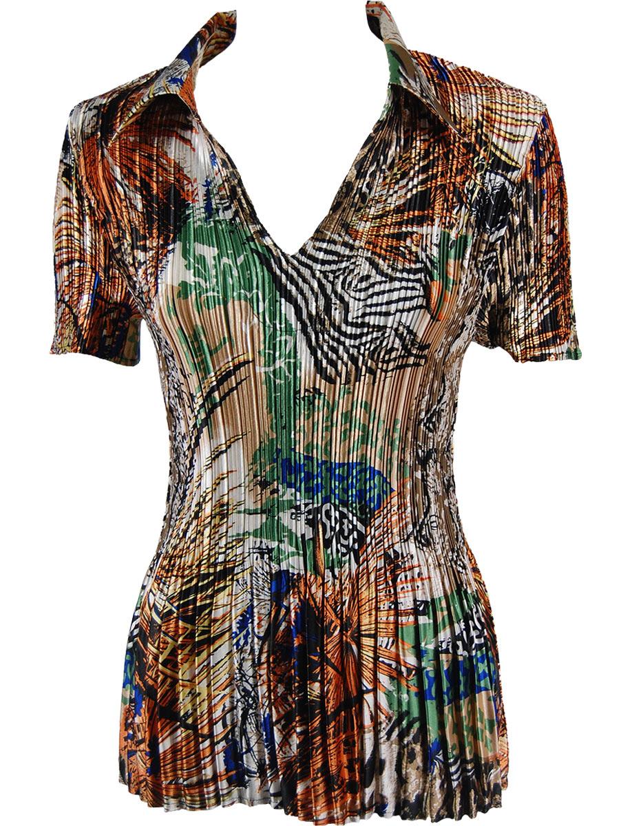 Satin Mini Pleats - Half Sleeve with Collar - Abstract Orange-Tan Satin Mini Pleat - Half Sleeve with Collar