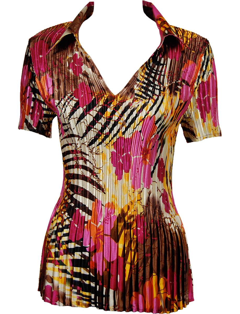 Satin Mini Pleats - Half Sleeve with Collar - Jungle Floral - Pink Satin Mini Pleat - Half Sleeve with Collar