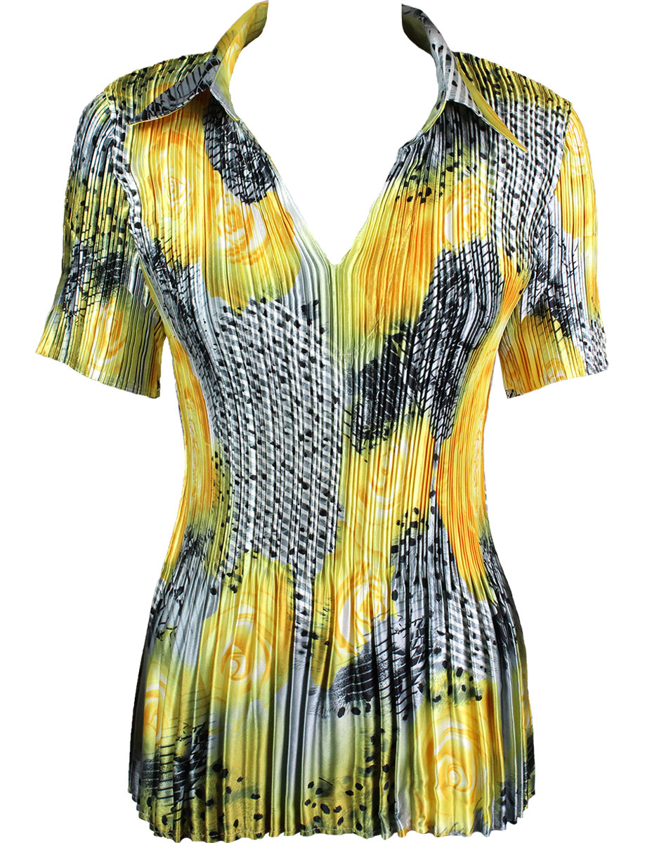 Satin Mini Pleats - Half Sleeve with Collar - Patchwork Swirl Yellow-Silver Satin Mini Pleat - Half Sleeve with Collar