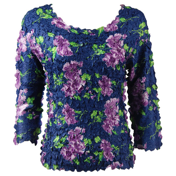 Petal Shirts - Three Quarter Sleeve - Navy with Purple Flowers