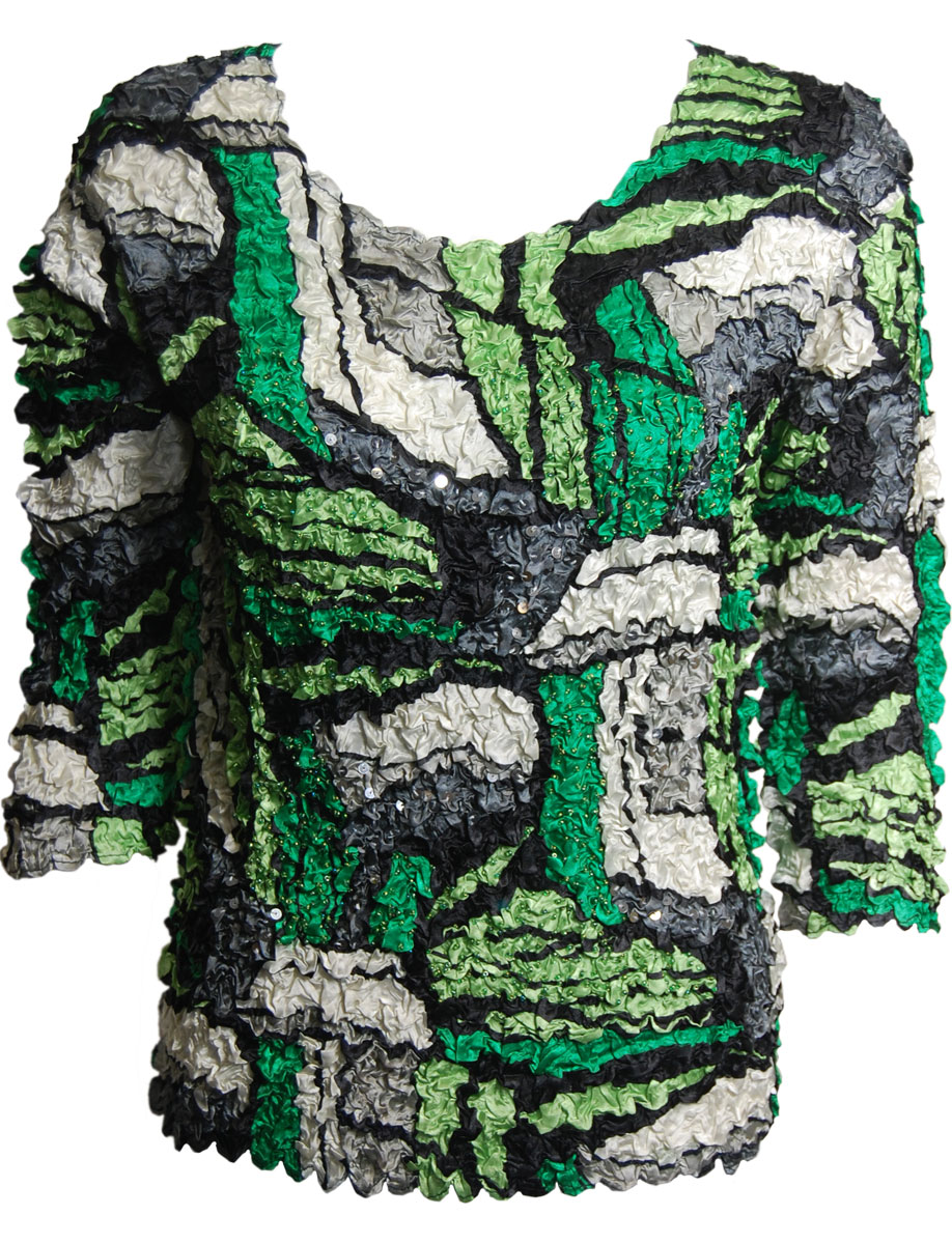 Abstract Petal Tops with Sequins - Three Quarter Sleeve