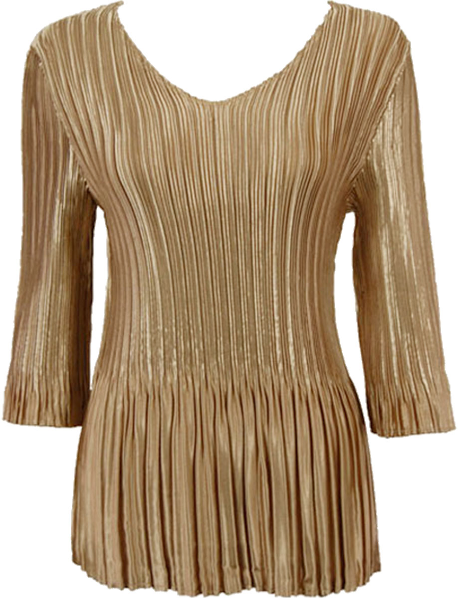 Satin Mini Pleats - Three Quarter Sleeve V-Neck - Solid Light Gold Satin Mini Pleat - Three Quarter Sleeve V-Neck