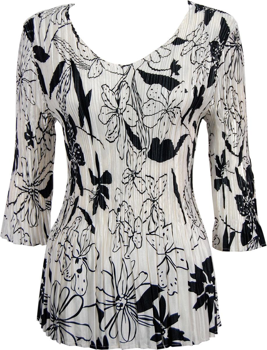 Wholesale Satin Mini Pleats - Cap Sleeve Floral - Black on White - One Size (S-XL)