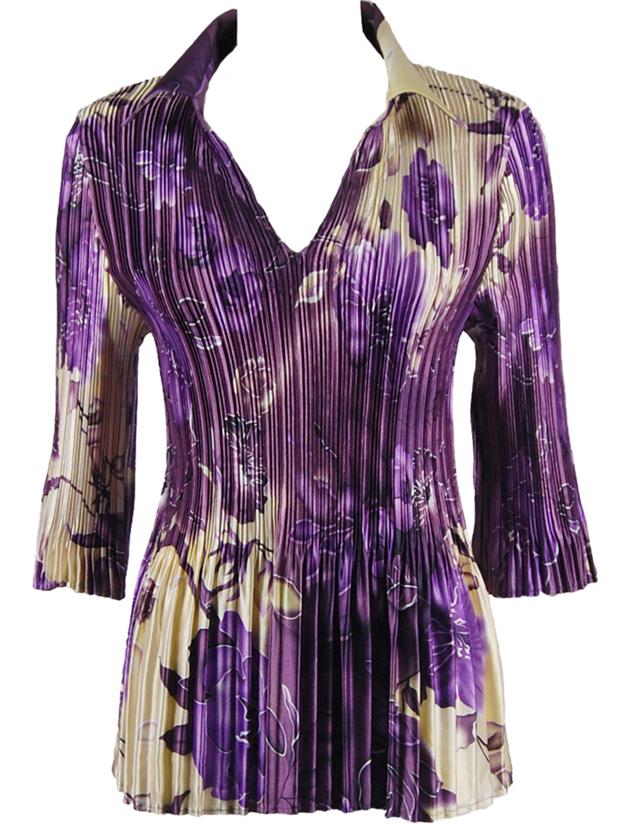 Wholesale Satin Mini Pleats - Cap Sleeve V-Neck Rose Floral - Purple - One Size (S-XL)