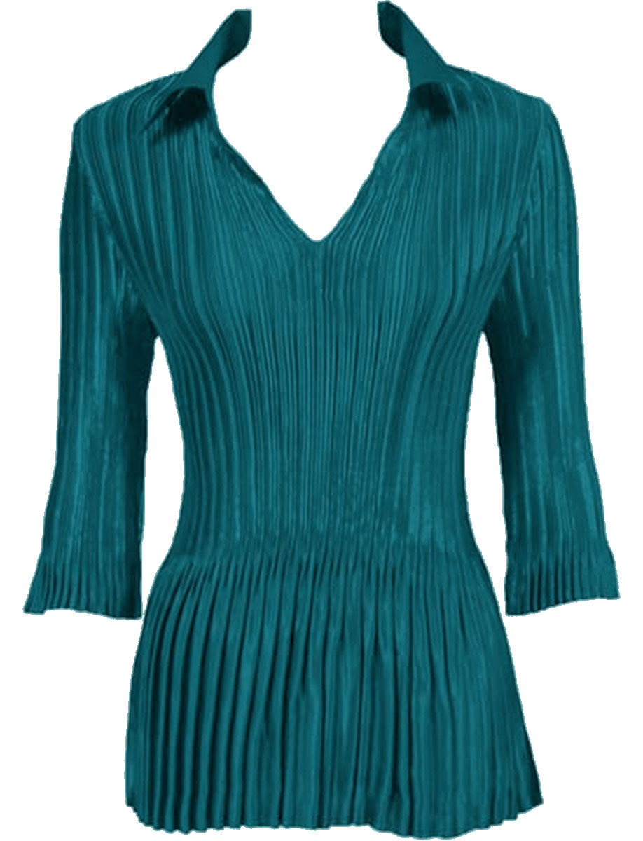 Wholesale Satin Mini Pleats - Half Sleeve V-Neck Solid Dark Turquoise - One Size (S-XL)