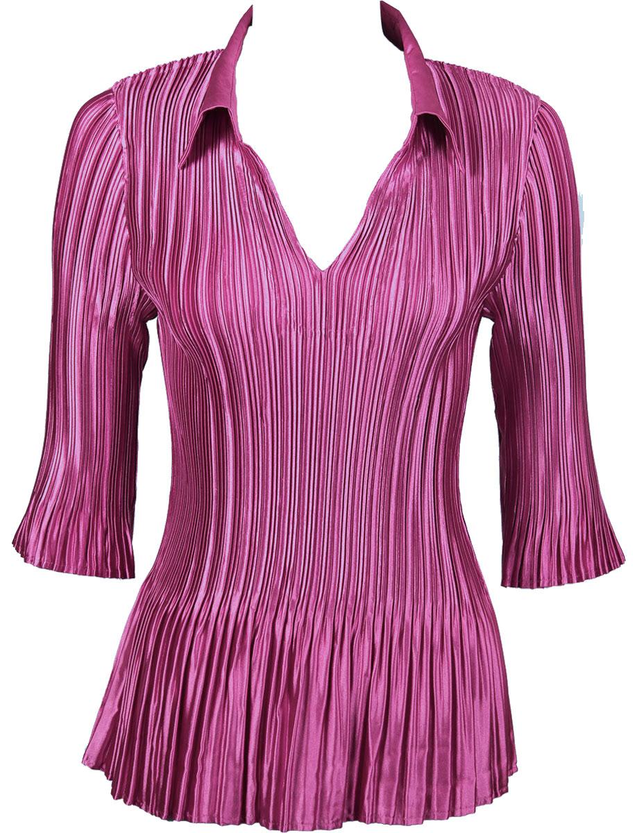 Satin Mini Pleats - Three Quarter Sleeve w/ Collar - Solid Orchid Satin Mini Pleats - Three Quarter Sleeve w/ Collar