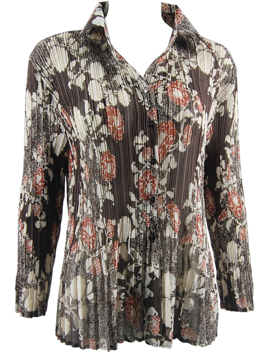 Wholesale Magic Crush Georgette - Cap Sleeve* Chocolate-Ivory Floral - One Size (S-XL)