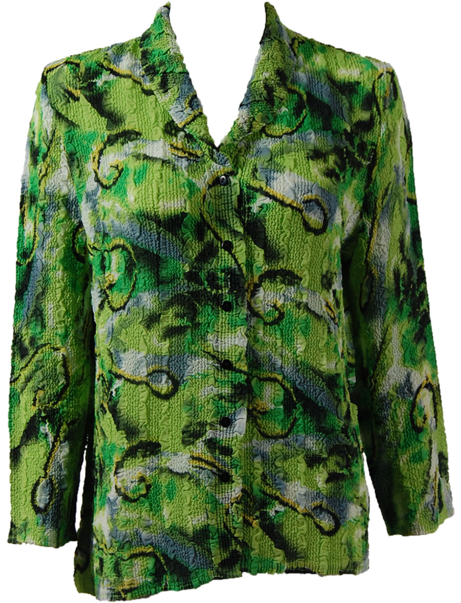 Magic Crush Georgette - Blouse* - Abstract Watercolors Lime-Black