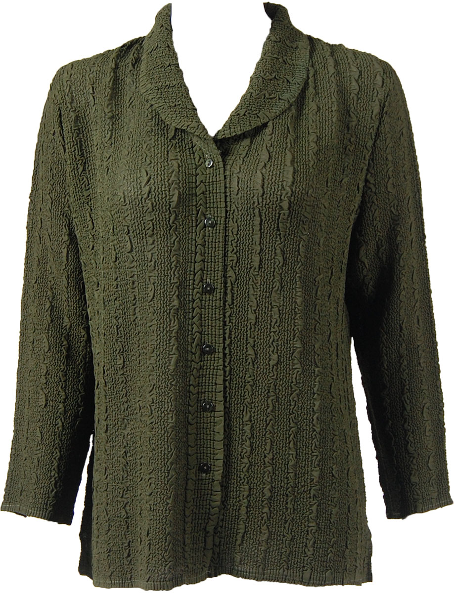 Magic Crush Georgette - Blouse* - Solid Moss
