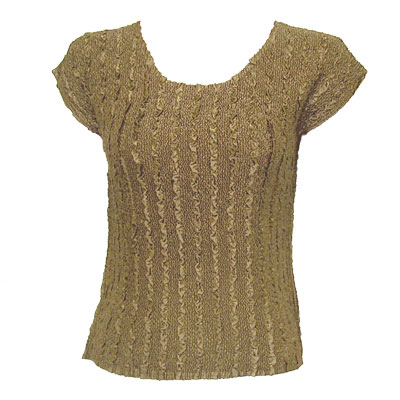 Overstock and Clearance Tops - Magic Crush Satin Cap Sleeve - Solid Taupe