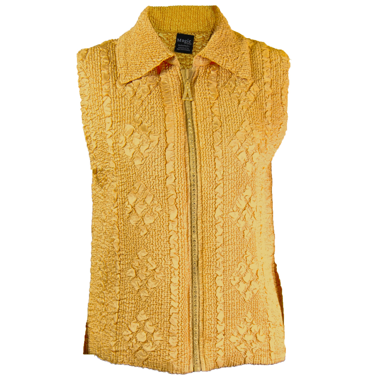 Overstock and Clearance Tops - Diamond Zipper Vest - Gold