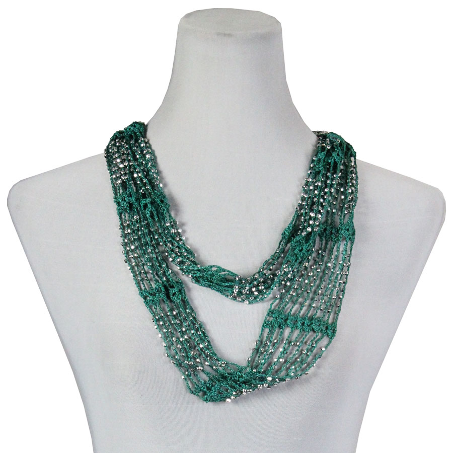 Overstock and Clearance Scarves & Accessories  - Shanghai Infinity Scarf - Sea Green w/ Silver Beads