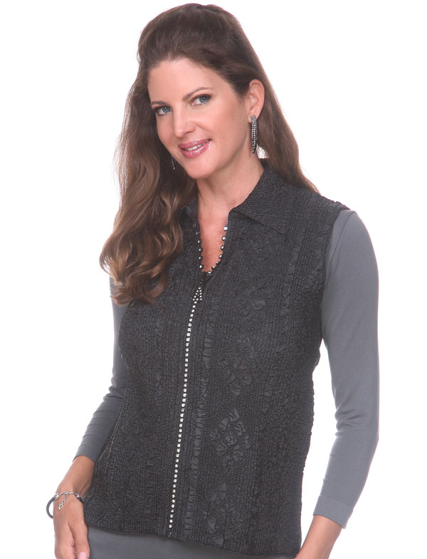 Wholesale Ultra Light Crush Silky Touch - 3/4 Sleeve* Black Diamond Zipper Vest - One Size (S-L)