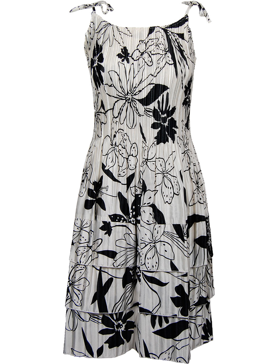 Wholesale Satin Mini Pleats - Cap Sleeve Floral - Black on White -