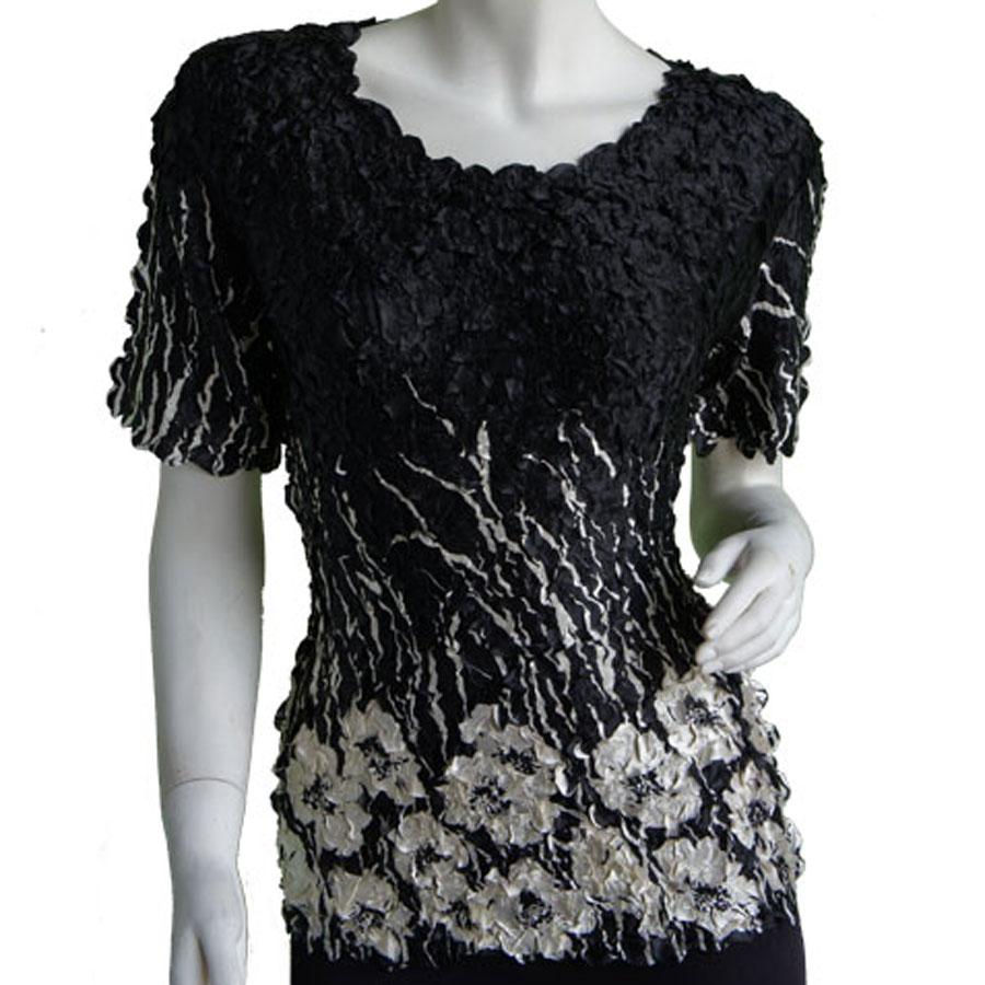Satin Petal Shirts - Cap Sleeve & Sleeveless - Ivory Poppies on Black