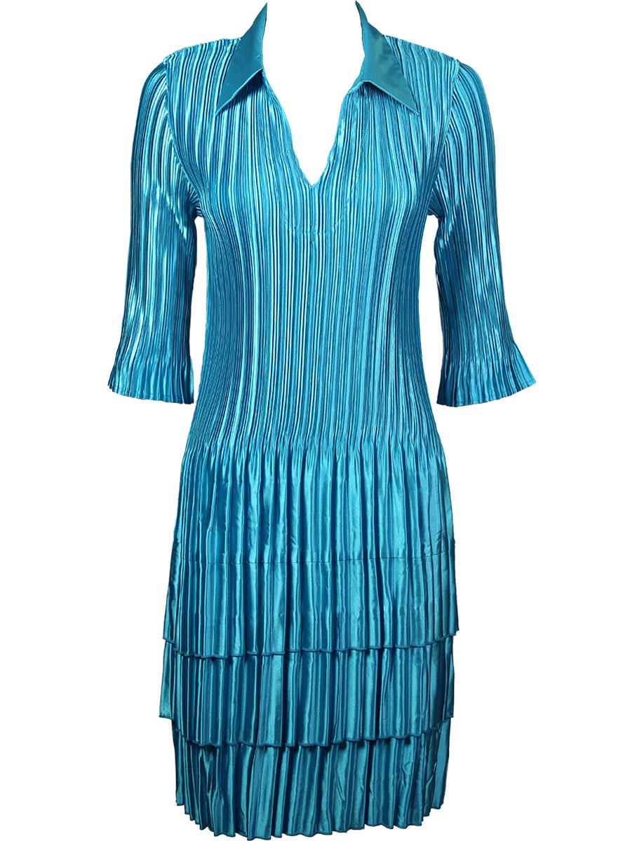 Wholesale Skirts - Satin Mini Pleat Tiered* Solid Aqua -