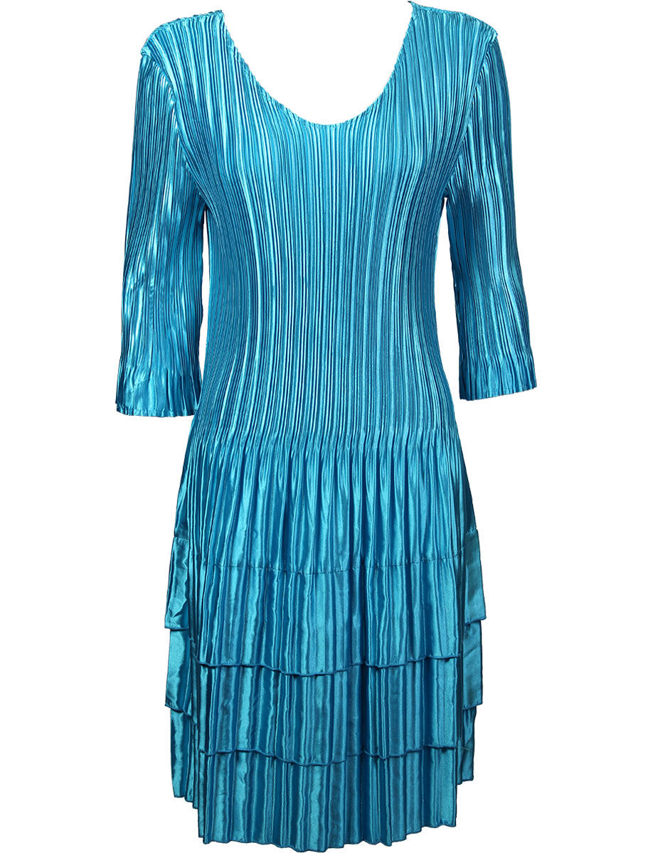 Wholesale Skirts - Satin Mini Pleat Tiered* Solid Aqua - One Size (S-XL)
