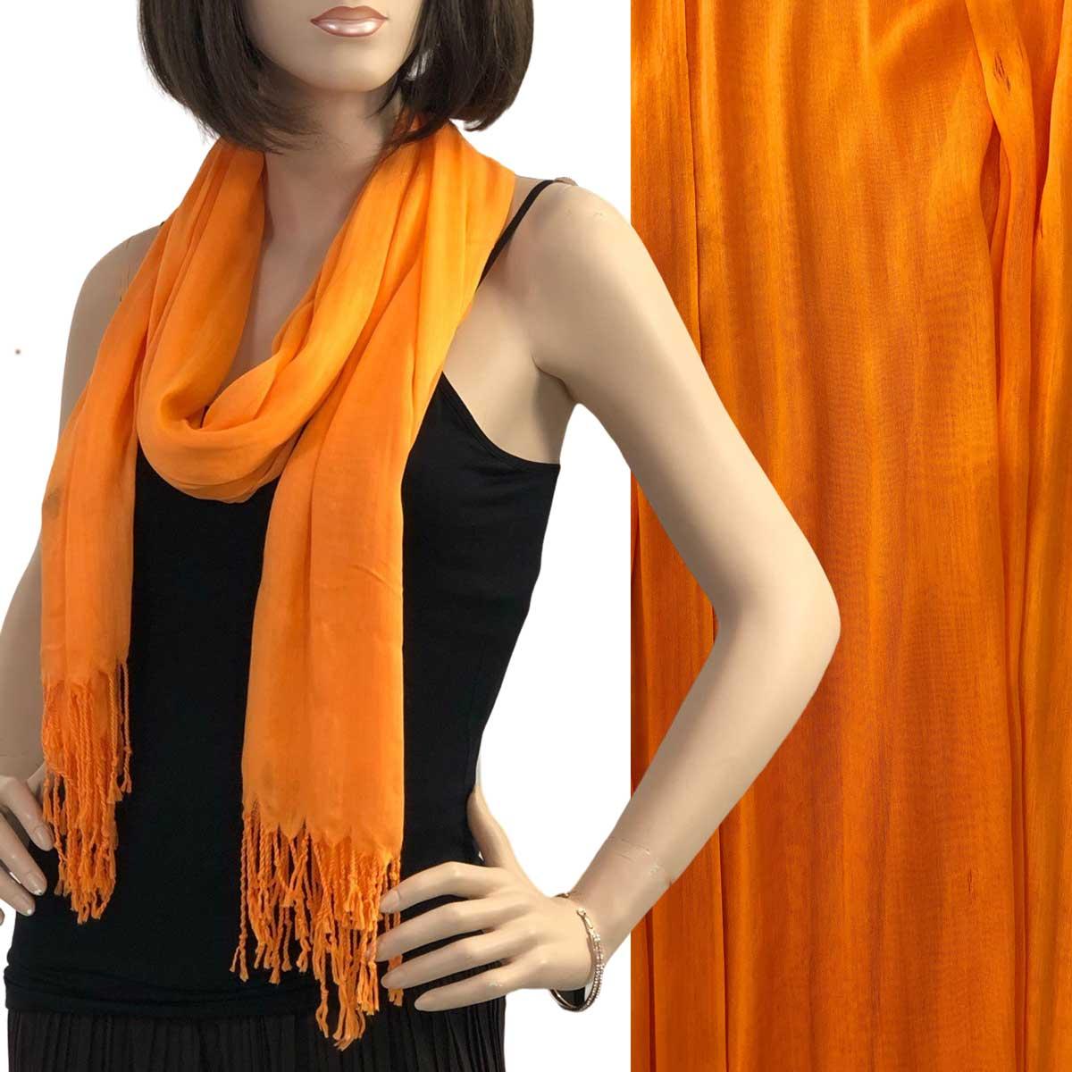Oblong Scarves - Cotton/Silk Blend 100 - Orange Peel
