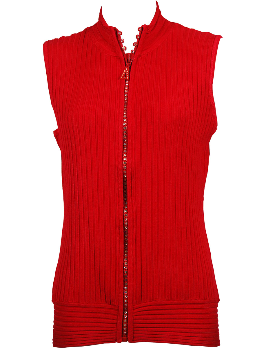 Crystal Zipper Sweater Vest* - Red