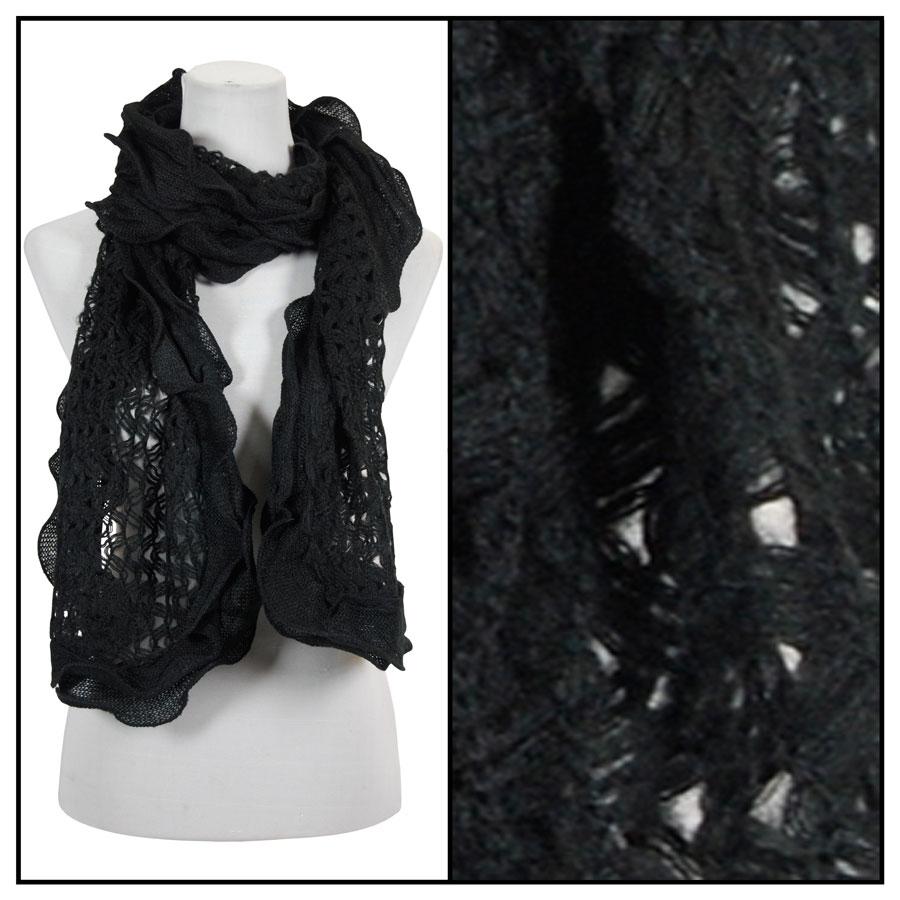 Oblong Scarves - Scalloped Edge Mohair Style 4069 - Black