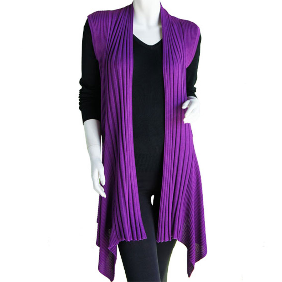 Magic Convertible Long Ribbed Sweater Vest - Purple