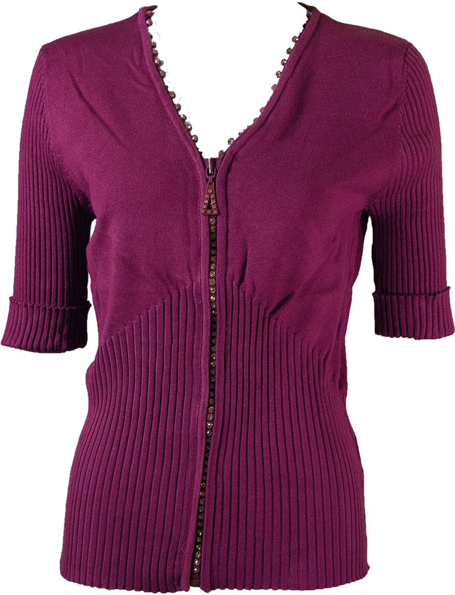 Crystal Zipper Top - Half Sleeve* - Burgundy