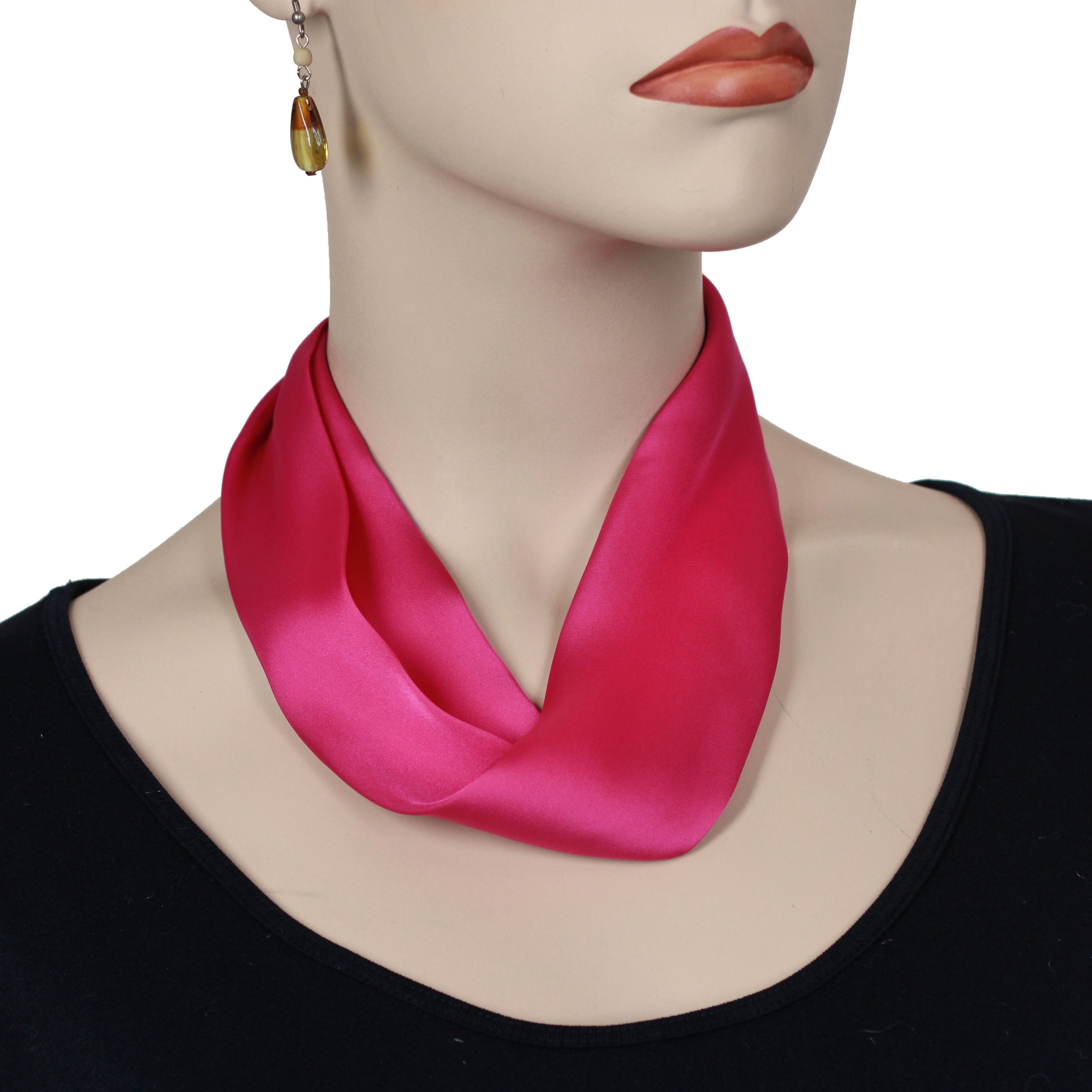 Satin Magnet Necklace with Optional Pendant - #027 Hot Pink (Silver Magnet)