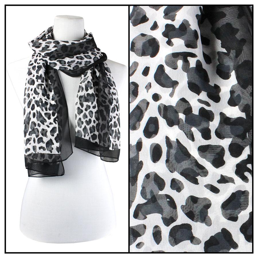Wholesale Magic Crush Georgette - Three Quarter Sleeve* Cheetah - Black-White -