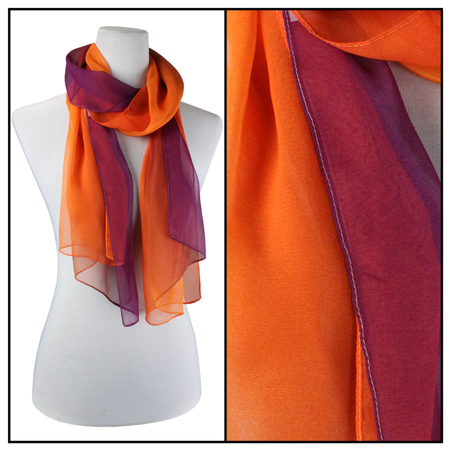 Silky Dress Scarves - Tri-Color - Purple-Orange-Pumpkin TC02