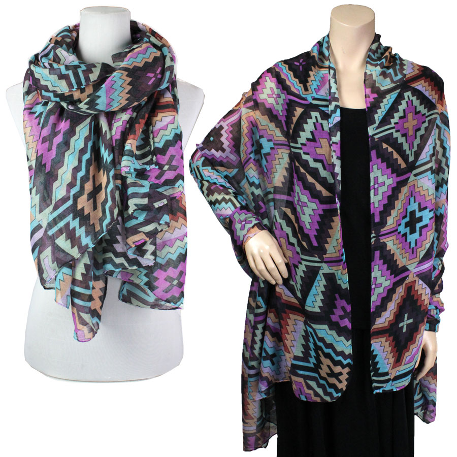 Big Scarves/Shawls - Multi Color 026* - Purple