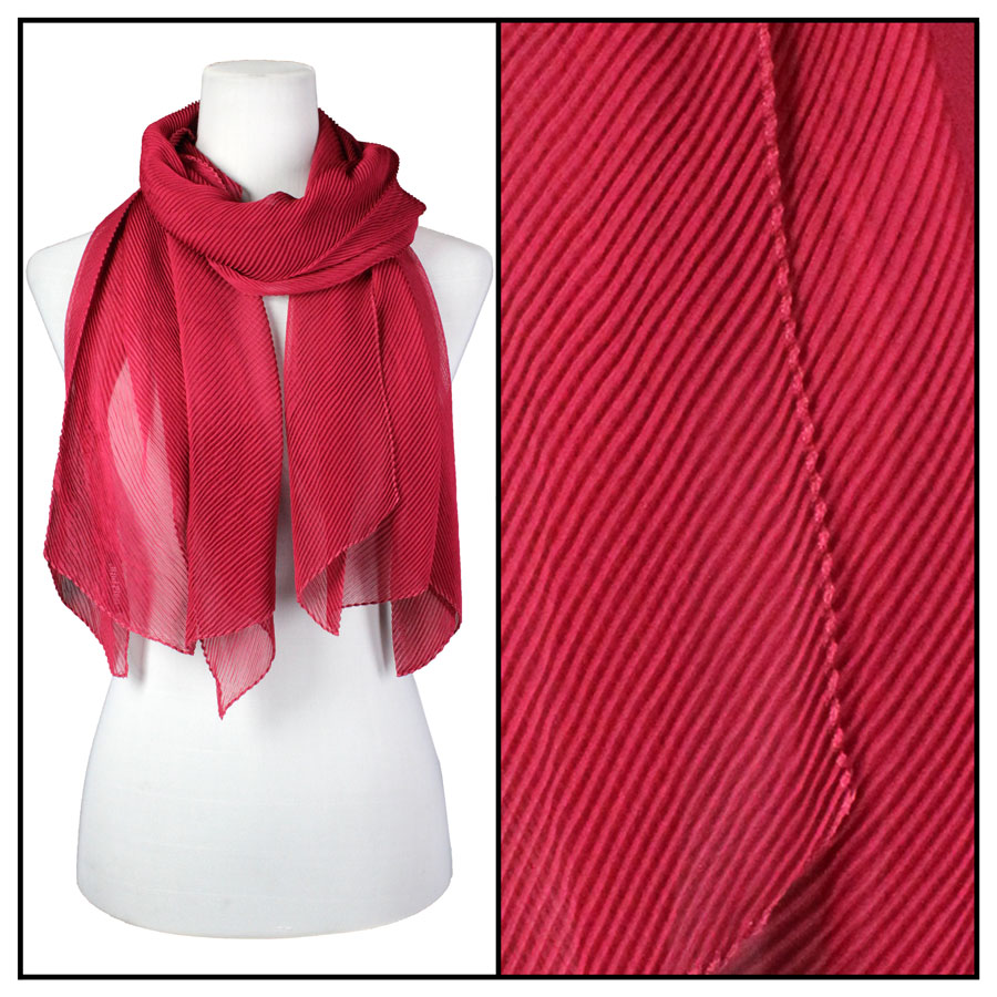 Oblong Scarves - Pleated* - Burgundy