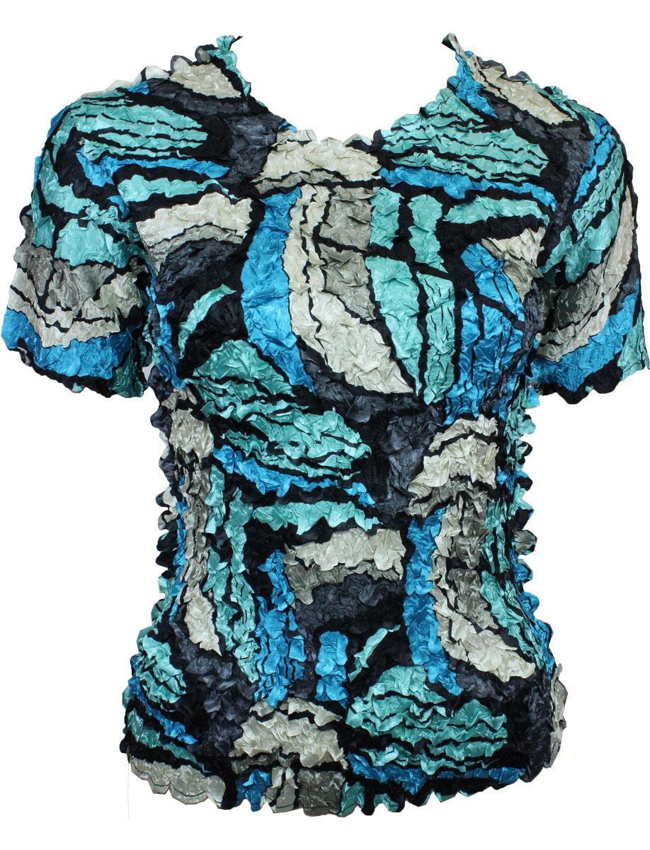 Satin Petal Shirts - Short Sleeve - Pop Art - Turquoise