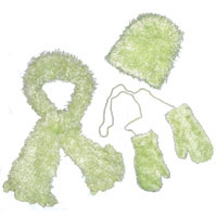 Wholesale Childrens Moa Boa Magic Scarf Sets Baby Green Childs Set -