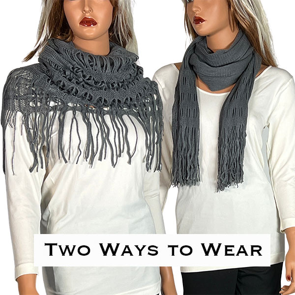 C Oblong Scarves - Long Two Way Knit Tube* - Grey Oblong Scarves - Long Two Way Knit Tube*