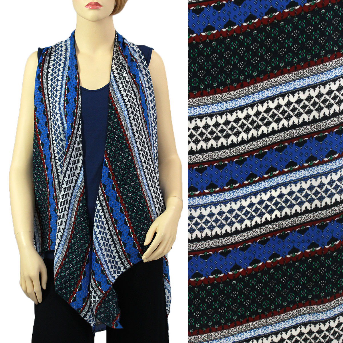 Chiffon Scarf Vests (Style 2) - #0536 Blue-Teal