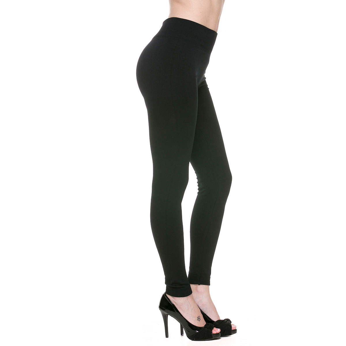 Winter Leggings - Fleece and Fur Lining - Solid Black - Fleece Lined Leggings 9000 PLUS