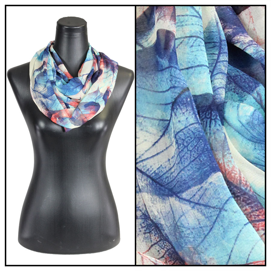 Infinity Silky Dress Scarves - Leaves - Blue