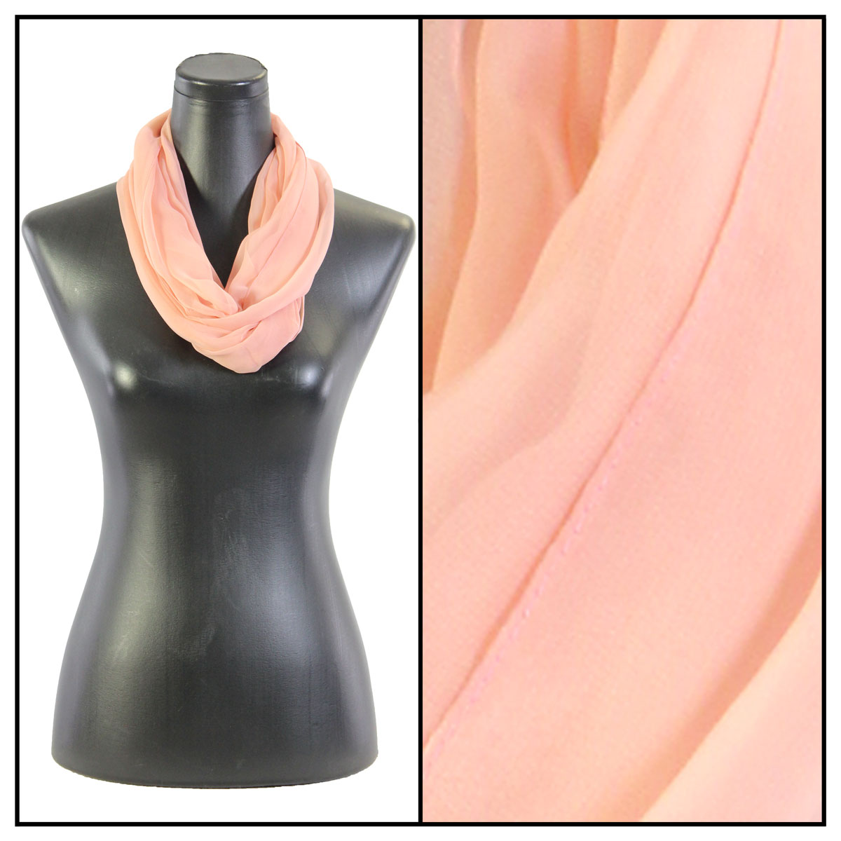 Infinity Silky Dress Scarves - Solid Blush (MB)