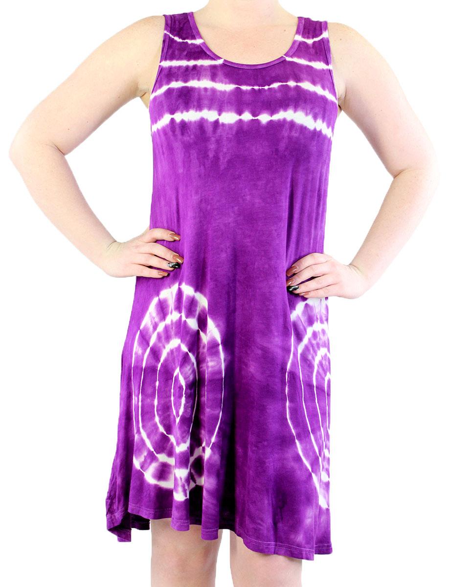 Summer Calf Length Dresses - 4766 Purple Bold Tie-Dye