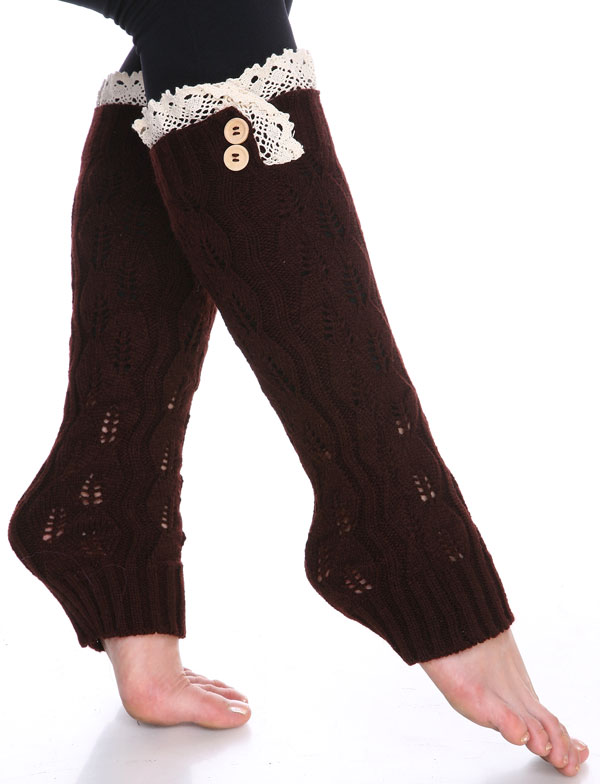 C Leaf Leg Warmers with Button & Lace 264x105