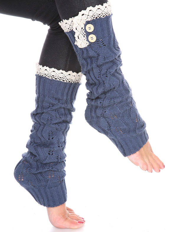 C Leaf Leg Warmers with Button & Lace 264x105 - Denim
